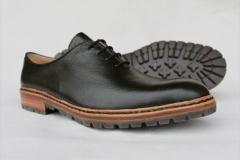 glatter Schuh in dunkelgrün, Zwiegenäht